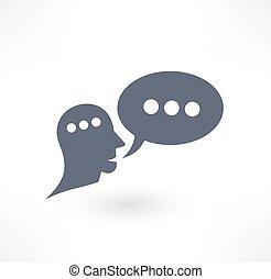 dialogue, communication, logo, icon., design., bavarder