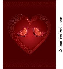 diamant, amour, deux oiseaux