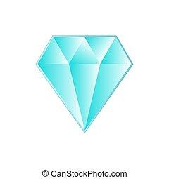 diamant bleu, grand, fond, lumière, blanc