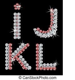 diamant, ensemble, (3), letters., vecteur, alphabétique