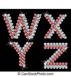 diamant, ensemble, (7), letters., vecteur, alphabétique