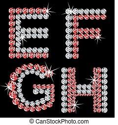 diamant, ensemble, letters., vecteur, (2), alphabétique