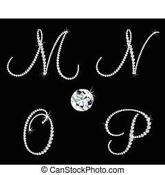 diamant, ensemble, letters., vecteur, 4, alphabétique, gracieux