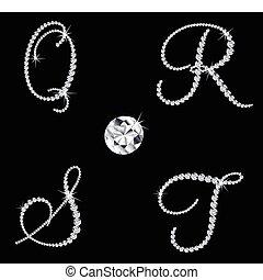 diamant, ensemble, letters., vecteur, 5, alphabétique, gracieux