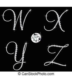 diamant, ensemble, letters., vecteur, 7, alphabétique, gracieux