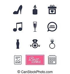 diamond., engagement, mariage, anneau, icons.