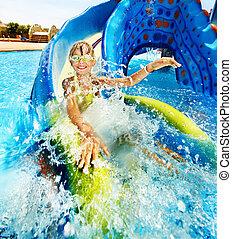 diapositive eau, enfant, aquapark.