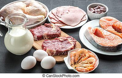 diet:, bois, cru, produits, fond, protéine