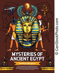 dieux, sculptures, ancien, religieux, egypte