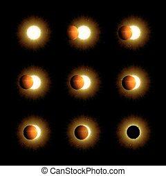 différent, éclipse, phases, solaire, lunaire