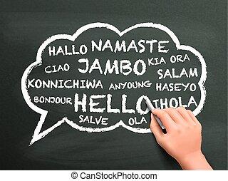 différent, écrit, salutation, langue, main