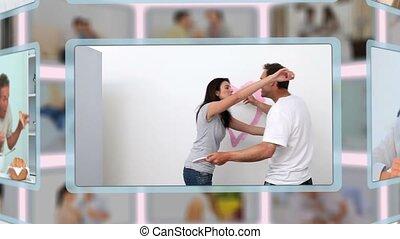 différent, agréable, montage, couples, moments, apprécier, maison, genres, partage, ensemble
