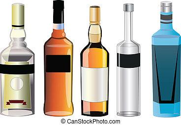 différent, alcool, saveurs