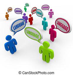 différent, autre, langue, pays, gens, compréhension, heritages, divers, parole, communiquer, au-dessus, cultures, bulles, une, mots