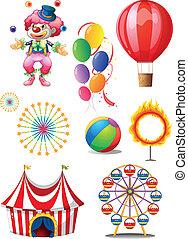 différent, balles, clown cirque, stuffs, jouer