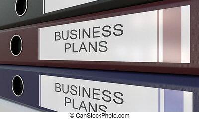 différent, bureau, business, étiquettes, classeurs, années, plans