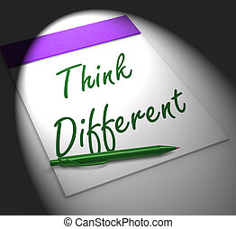 différent, cahier, affichages, innovation, penser, inspiration