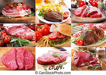 différent, collage, viande