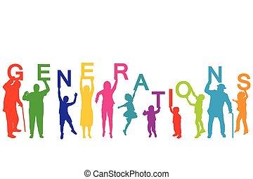 différent, concept, âges, générations, gens