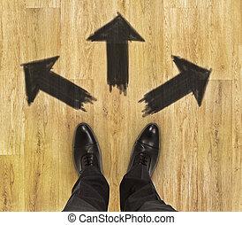 différent, concept, direction