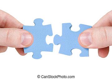 différent, connecter, morceaux puzzle