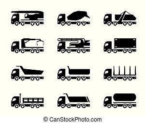 différent, construction, camions