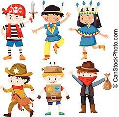 différent, costumes, enfants