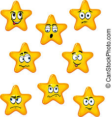 différent, dessin animé, étoiles, émotions