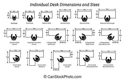 différent, dimensions, sizes., individu, bureau, table