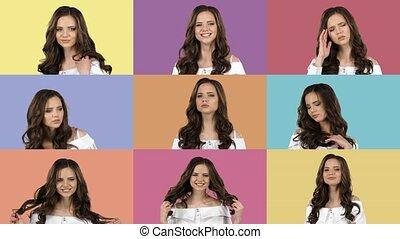 différent, emotions., collage, beau, dépeindre, filles, images