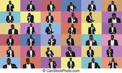 différent, emotions., collage, type, dépeindre, beau, américain africain, images