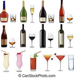 différent, ensemble, boissons, cocktai