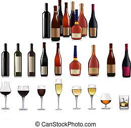 différent, ensemble, bottles., vecteur