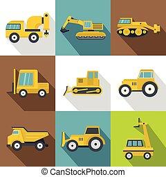 différent, ensemble construction, machinerie, icônes