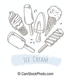 différent, ensemble, cream., griffonnage, illustration, main, glace, dessiné