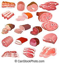 différent, ensemble, genres, viande