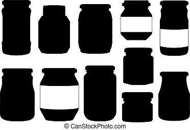 différent, ensemble, illustration, pots