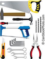 différent, ensemble, outils, main