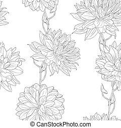 différent, ensemble, papier peint, main, flowers., floral, dessiné
