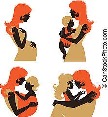 différent, ensemble, silhouette, pregnant, âge, mère, femme, enfant, baby.