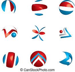 différent, ensemble, symbole, espèce, résumé, icône