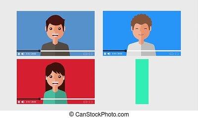 différent, ensemble, vidéos, gens, blogger, internet