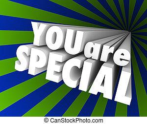 différent, exceptionnel, mots, vous, unique, spécial, 3d
