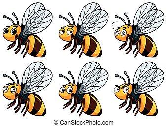 différent, expressions, facial, abeille