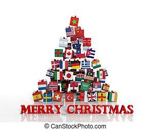 différent, fait, cadeau, everyone!, arbre, boîtes, drapeaux, joyeux noël