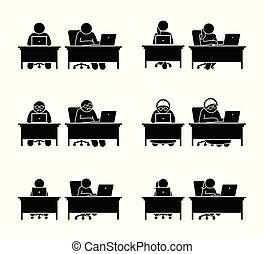 différent, famille, informatique, membres, aller, utilisation, online.