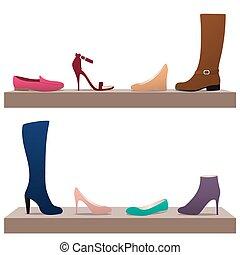 différent, femme, chaussures
