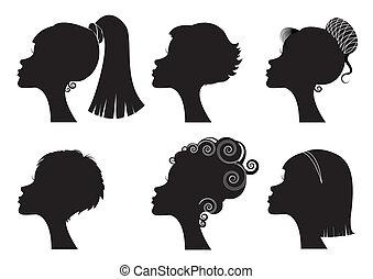 différent, -, figure, silhouettes, vecteur, noir, coiffures, femmes