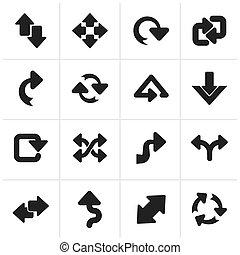 différent, flèches, espèce, icônes
