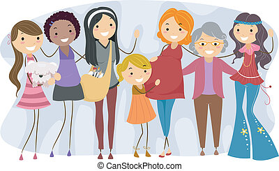 différent, générations, femmes